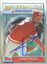 Jose Rijo Signed 1993 Topps Finest Baseball Card - Cincinnati Reds