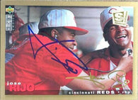 Jose Rijo Signed 1995 Collectors Choice Gold Signature Baseball Card - Cincinnati Reds