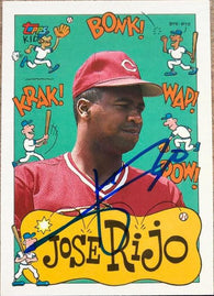 Jose Rijo Signed 1992 Topps Kids Baseball Card - Cincinnati Reds