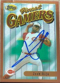 Jose Rijo Signed 1996 Topps Finest Baseball Card - Cincinnati Reds