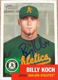 Billy Koch Signed 2002 Topps Heritage Baseball Card - Oakland A's