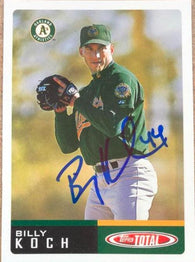 Billy Koch Signed 2002 Topps Total Baseball Card - Oakland A's