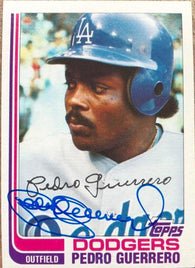 Pedro Guerrero Signed 1982 Topps Baseball Card - Los Angeles Dodgers