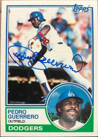 Pedro Guerrero Signed 1983 Topps Baseball Card - Los Angeles Dodgers