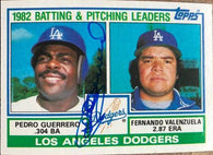 Pedro Guerrero Signed 1983 Topps Baseball Card - Los Angeles Dodgers Leaders