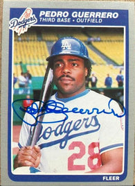Pedro Guerrero Signed 1985 Fleer Baseball Card - Los Angeles Dodgers
