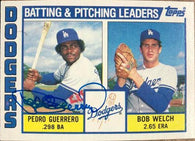 Pedro Guerrero Signed 1984 Topps Leaders Baseball Card - Los Angeles Dodgers