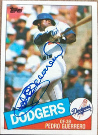 Pedro Guerrero Signed 1985 Topps Baseball Card - Los Angeles Dodgers
