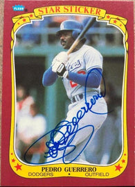 Pedro Guerrero Signed 1986 Fleer All-Star Stickers Baseball Card - Los Angeles Dodgers