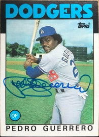 Pedro Guerrero Signed 1986 Topps Baseball Card - Los Angeles Dodgers