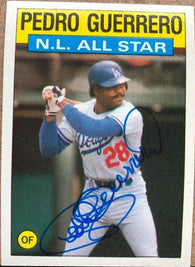 Pedro Guerrero Signed 1986 Topps All-Star Baseball Card - Los Angeles Dodgers