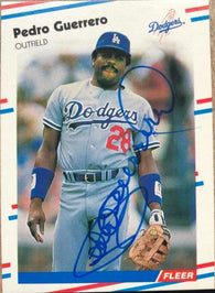 Pedro Guerrero Signed 1988 Fleer Baseball Card - Los Angeles Dodgers