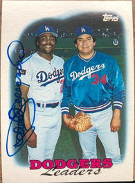 Pedro Guerrero Signed 1988 Topps Baseball Card - Los Angeles Dodgers Leaders