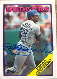 Pedro Guerrero Signed 1988 Topps Baseball Card - Los Angeles Dodgers