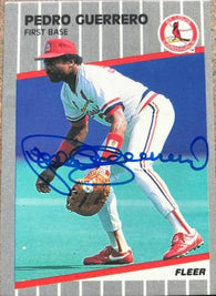 Pedro Guerrero Signed 1989 Fleer Baseball Card - St Louis Cardinals
