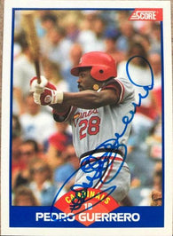 Pedro Guerrero Signed 1989 Score Baseball Card - St Louis Cardinals