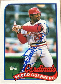 Pedro Guerrero Signed 1989 Topps Baseball Card - St Louis Cardinals