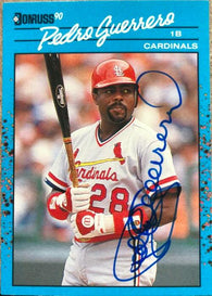 Pedro Guerrero Signed 1990 Donruss Baseball's Best Baseball Card - St Louis Cardinals