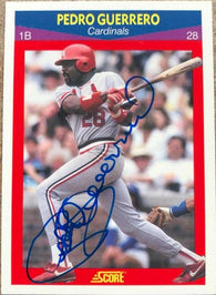 Pedro Guerrero Signed 1990 Score 100 Superstars Baseball Card - St Louis Cardinals