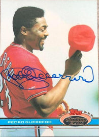 Pedro Guerrero Signed 1991 Topps Stadium Club Baseball Card - St Louis Cardinals