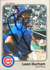 Leon Durham Signed 1983 Fleer Baseball Card - Chicago Cubs