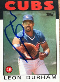 Leon Durham Signed 1986 Topps Baseball Card - Chicago Cubs
