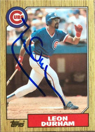 Leon Durham Signed 1987 Topps Tiffany Baseball Card - Chicago Cubs