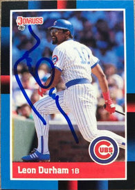 Leon Durham Signed 1988 Donruss Baseball Card - Chicago Cubs