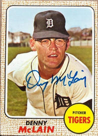 Denny McLain Signed 1968 Topps Baseball Card - Detroit Tigers