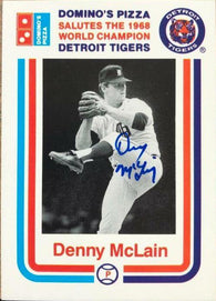 Denny McLain Signed 1988 Dominos Pizza Baseball Card - Detroit Tigers