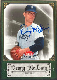 Denny McLain Signed 2006 Fleer Greats of the Game Baseball Card - Detroit Tigers