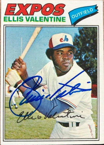 Ellis Valentine Signed 1977 Topps Baseball Card - Montreal Expos