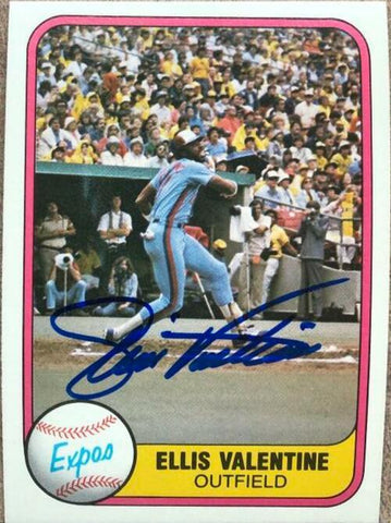 Ellis Valentine Signed 1981 Fleer Baseball Card - Montreal Expos