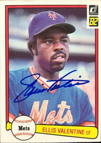 Ellis Valentine Signed 1982 Donruss Baseball Card - New York Mets