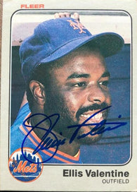 Ellis Valentine Signed 1983 Fleer Baseball Card - NY Mets