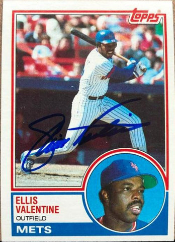 Ellis Valentine Signed 1983 Topps Baseball Card - New York Mets