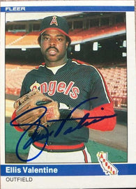 Ellis Valentine Signed 1984 Fleer Baseball Card - California Angels