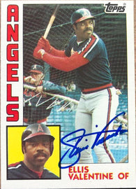 Ellis Valentine Signed 1984 Topps Baseball Card - California Angels