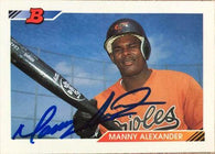 Manny Alexander Signed 1992 Bowman Baseball Card - Baltimore Orioles