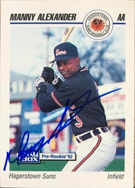 Manny Alexander Signed 1992 Skybox Baseball Card - Baltimore Orioles