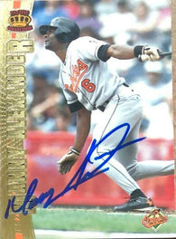 Manny Alexander Signed 1997 Pacific Crown Baseball Card - Baltimore Orioles