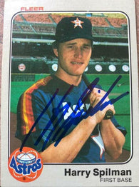 Harry Spilman Signed 1983 Fleer Baseball Card - Houston Astros