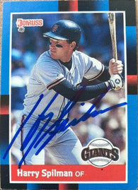 Harry Spilman Signed 1988 Donruss Baseball Card - San Francisco Giants