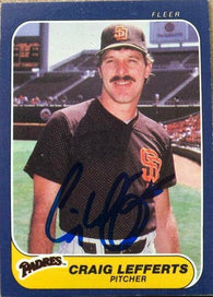 Craig Lefferts Signed 1986 Fleer Baseball Card - San Diego Padres