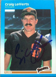 Craig Lefferts Signed 1987 Fleer Baseball Card - San Diego Padres