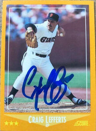 Craig Lefferts Signed 1988 Score Baseball Card - San Francisco Giants
