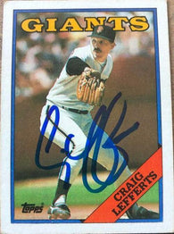 Craig Lefferts Signed 1988 Topps Baseball Card - San Francisco Giants