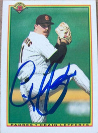 Craig Lefferts Signed 1990 Bowman Baseball Card - San Diego Padres