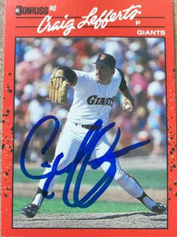 Craig Lefferts Signed 1990 Donruss Baseball Card - San Francisco Giants