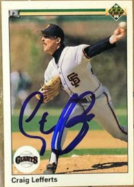Craig Lefferts Signed 1990 Upper Deck Baseball Card - San Francisco Giants